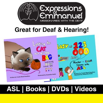 the logo for Expressions of Emmanuel missionaries for the deaf and pictures of two American sign language children's books
