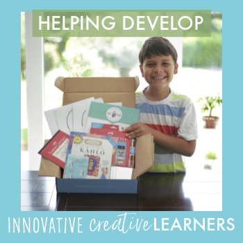 a smiling boy holding a box of art lesson materials and the words Helping Develop Innovative Creative Learners