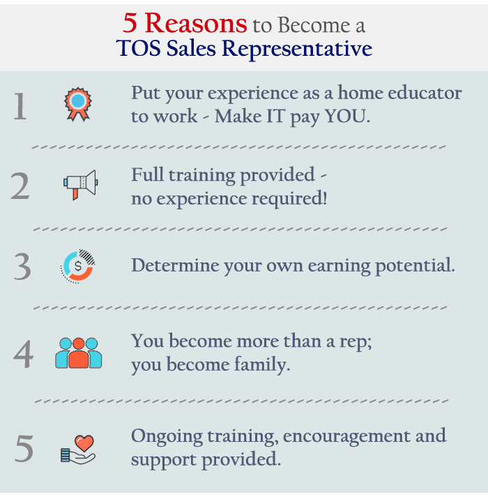 5 Reasons to be a TOS Sales Representative!