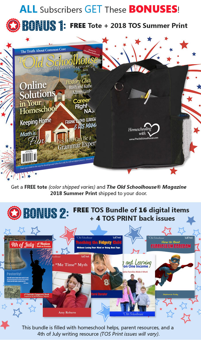 Receive $130 in bonuses with your SchoolhouseTeachers.com subscription. FREE Tote, FREE TOS 2018 Summer Print, 16 TOS digital eBooks and items, and 4 TOS Print Back Issues.