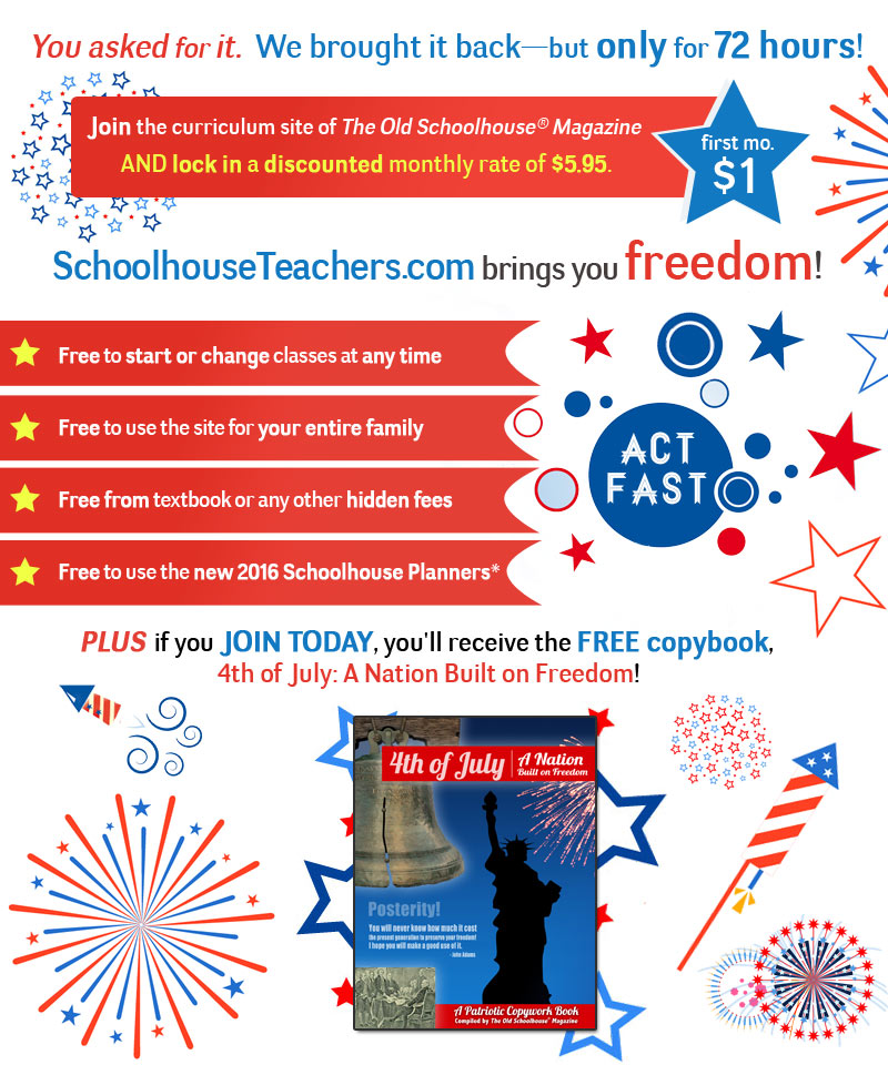 Join the SchoolhouseTeachers.com during our 72hr flash sale and lock in $5.95 mo for life of membership (reg. $12.95 per month)!